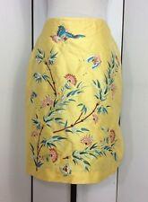 Ralph Lauren Black Label Sz 4 Yellow Silk Embroidered Butterfly Asian Skirt S