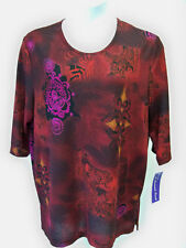 A Personal Touch Top NWT 1X Red Print Tunic