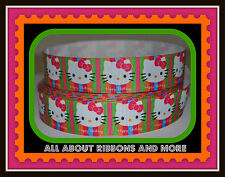 1 INCH HELLO KITTY HAPPY BIRTHDAY NEON STRIPE GROSGRAIN RIBBON - 1 YARD