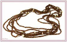 "LOVELY 48"" LONG 3 in 1 MULTI STRAND BROWN EARTH TONE BEAD ETHNIC TRIBAL NECKLACE"