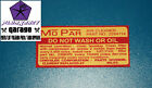 "R & S SERIES VALIANT ""DO NOT WASH""AIR CLEANER DECAL SUITS CHRYSLER RV1 SV1 225"