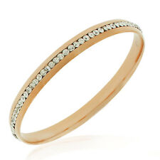 Stainless Steel Rose Gold-Tone White CZ Classic Round Bangle Bracelet, 7""