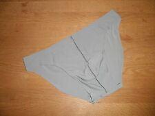 Men's Large Sexy Second Skin Grey Nylon Spandex Low Rise Briefs Full Back Gay
