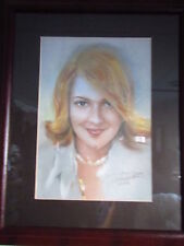 """1999  DREW BARRIMORE Framed and matted  PORTRAIT  by Haiyan  ; 19"""" x 21"""""""