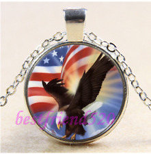 Eagle With America Flag Cabochon Glass Tibet Silver Chain Pendant Necklace#F61