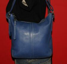 Vtg COACH LEGACY Blue  Leather Slim Duffle Tote Crossbody Satchel Purse Bag 9326