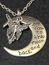"Angel Love Moon Charm Tibetan Silver 18"" Necklace"