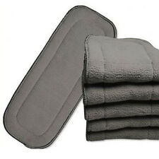 1PC Bamboo Fiber Charcoal Washable Cloth Diaper Nappies Inserts 5 Layers MDAU