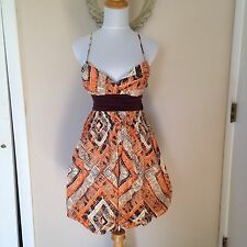 XOXO Geometric Diamond Orange Brown Bubble Sweetheart Fall Thanksgiving Dress 5