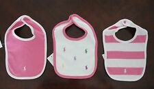 NWT Ralph Lauren Polo Logo Infant Girls Set of 3 Pink Cotton Bibs NEW $25