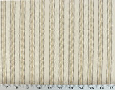Drapery Upholstery Fabric 100% Cotton Classic Ticking Stripe - Tan/Brown/Ivory