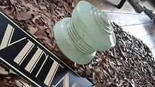 art deco Style Glass Lamp Shade Light Shade green mottled globe gold Saturn ring
