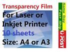 10 sheets Transparency Film for Laser or Inkjet printer, Size A4 or A3 AU local