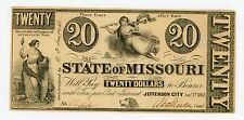 1862 Cr.1 $20 The State of MISSOURI Note - CIVIL WAR Era AU