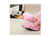 Microwaveable Heated Slippers Warm Feet Unisex Pink Size 9.5-11