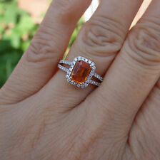 Emerald Orange stone .50ct Micropave H/Si1 Engagement ring 14k YG simimount