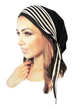 Tichel Hair Snood Head Scarf Chemo Hat Pre Tied Bandana Black Stripe Wrap - 094