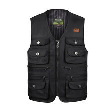Hunting fishing vest multi pockets safari waistcoat  photo jacket zipper