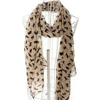 Cat Print Scarf Celebrity Fashion Shawl Scarves WRAP Ladies Animal Soft APRICOT
