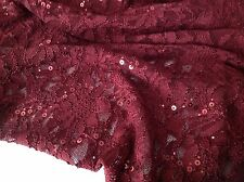 "NEW Maroon Corded Stretch Lace Fabric Maroon Sequins Blings 60"" Lycra Spandex Hi"