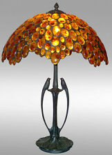 HAND CRAFTED - LUXURY TIFFANY LAMP -AMBER TABLE AND BEDSIDE LAMP LARGE BIRDS 24""