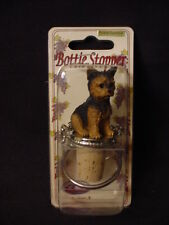 YORKIE Dog CORK WINE BOTTLE STOPPER Puppy HAND PAINTED Resin FIGURINE Yorkshire
