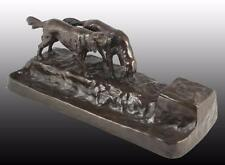 Friedrich Gornik Antique Rare Patinated Bronze Inkwell Desk Set Dogs/Hounds