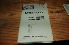 CATERPILLAR D337 D326 Diesel Engine Owner Operator Operation Maintenance Manual