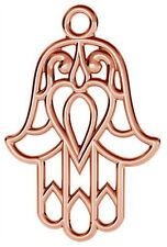 1 STERLING SILVER 925 LARGE HAMSA CHARM / PENDANT, 22 X 15 MM, ROSE GOLD PLATED