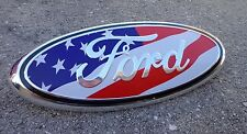 "2005-2014 Ford F-150 Front Grille Grill American Flag USA Oval 9"" Emblem Badge"