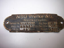 RARE-AUTHENTIC GERMAN RELIC PLATE NSU WERKE.AG-WW2