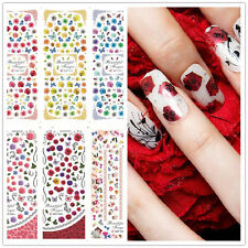 2sheets Rose Butterfly Design Nail Art Sticker PVC Tips Decoration Sticker Decal