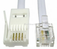 20m RJ11 to BT Socket Cable Modem FAX Telephone Lead Phone 4 Pin Straight LONG