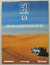 PEUGEOT 205/405 TURBO 16 PARIS-ALGER-DAKAR 88 RALLY Poster/Brochure 1988