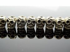 Small Cast Handmade Silver Tone Detailed Tibetan Style Skull Bead 8mm 10 pc.