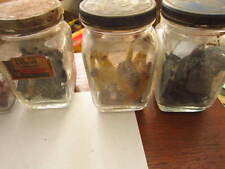 Set of 6 with contents Guarenteed Parts auto glass jars Vintage car advertising