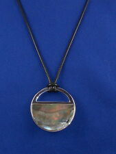 Kenneth Cole NY Silver LUNAR ECLIPSE Mother of Pearl Pendant Black Cord Necklace