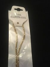 "3mm 16"" Long Stainless Steel Figaro necklace Chain Pendant Gold Colour stnF3G"