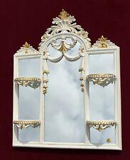 Wandspiegel mit Konsole Spiegelablage creme-Gold 60X51 Spiegel Altweiß-Gold c510