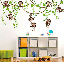 Cute Monkey Jungle Tree Wall Sticker Removable Vinyl Kids Room Nursery Art Decor
