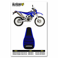 2008-2014 YAMAHA WR 250 X & R Blue/Black/Blue RIBBED SEAT COVER BY Enjoy MFG