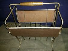 Vintage Mid Century Wood & Metal Magazine Rack-Handle Cracked