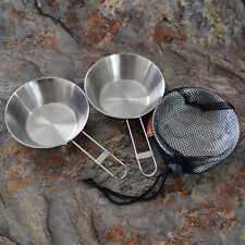 Outdoor Foldable Stainless Steel Camping Portable Folding Handles Bowl Cook