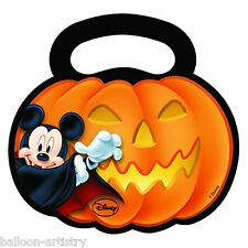 6 Halloween Disney Mickey Mouse Party Plastic Gift Favour PUMPKIN Loot Bags