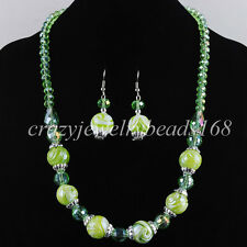 Green Crystal Faceted Beads Necklace Earrings Jewelry Set Jewelry M1008