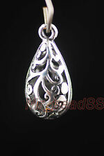 3Pcs Silver Hollow Out Teardrop Jewelry Charm Pendants Finding Beads 16x13mm