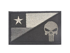 CHILE FLAG PUNISHER SKULL TACTICAL ARMY MILITARY MORALE BLACK EMBROIDERED PATCH