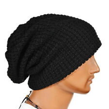 Mens Womens Unisex Hat Warm Soft Winter Knit Ski Beanie Oversize Cap hats Black