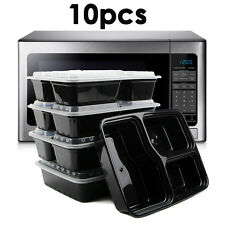 10x Reusable Microwave Safe Stackable Meal Containers Plastic Food Storage UK