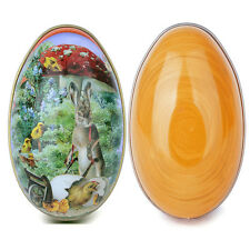 Orange Tinplate Metal Eggs Empty For Candy Large 4'' Easter Day Decoration Gift